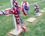 Flags and Bunting at Grave
